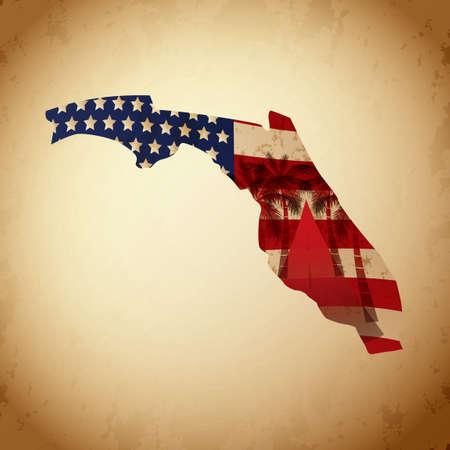 miami florida: Florida map with miami Illustration