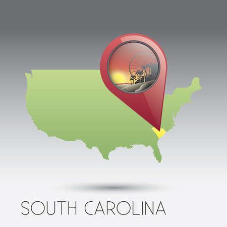 south carolina: USA map of south carolina state Illustration