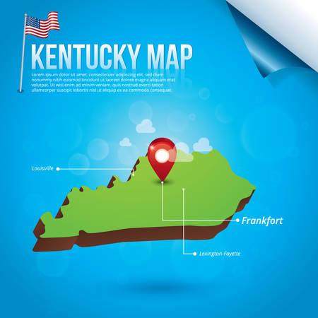 louisville: Map of kentucky state Illustration