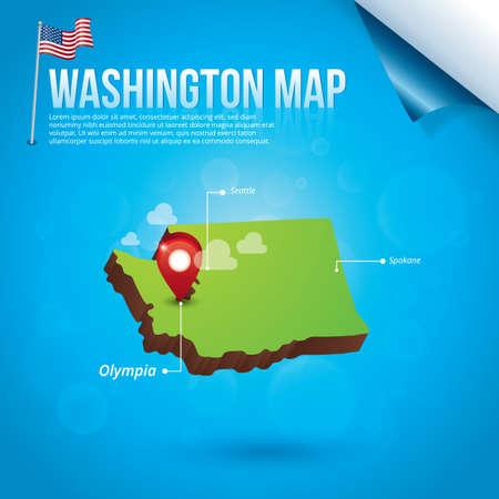 washington state: Map of washington state Illustration