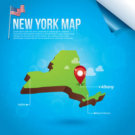 new york state: Map of new york state