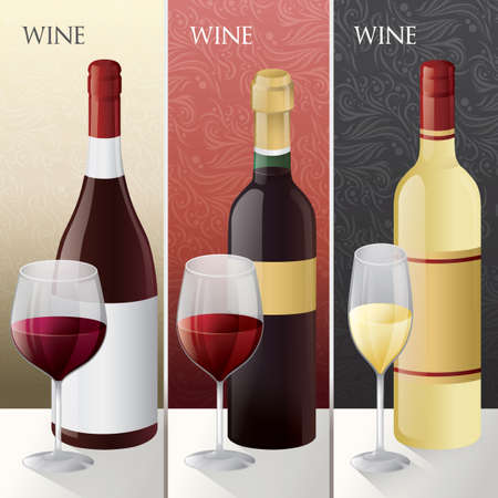 wine bottles: Set of different wine bottles with glass