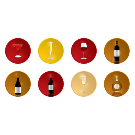 wine bottles: Set of wine bottles and glasses Illustration