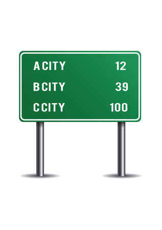 Mileage signs for highway routes Illustration