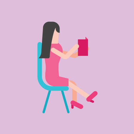 woman reading book: Woman reading book Illustration
