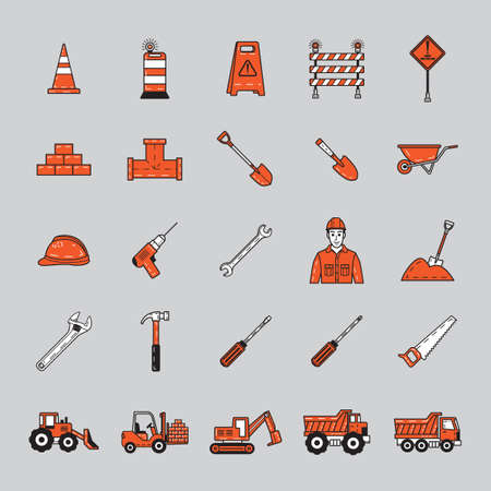 earthmover: Set of construction icons Illustration
