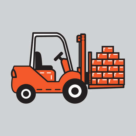 forklift truck: Forklift truck with bricks