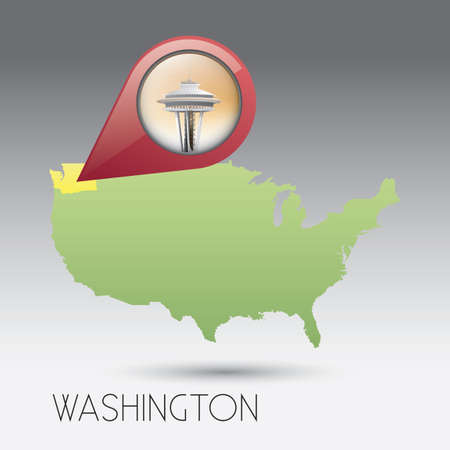 space needle: USA map with washington state