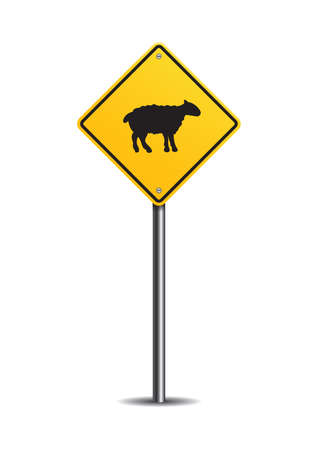 sheep road sign: Sheep crossing sign Illustration