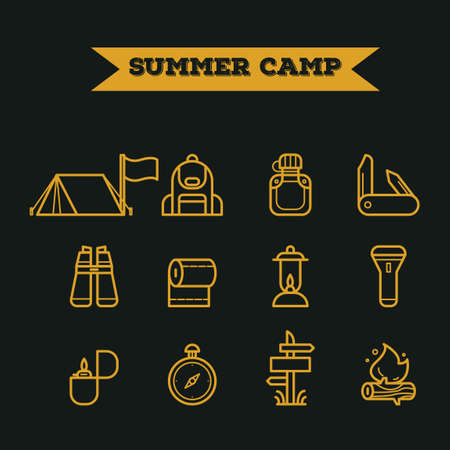 toilet paper art: Set of summer camp icons Illustration