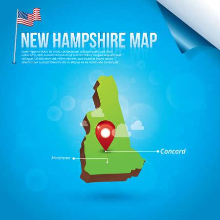 hampshire: Mapa del estado de New Hampshire