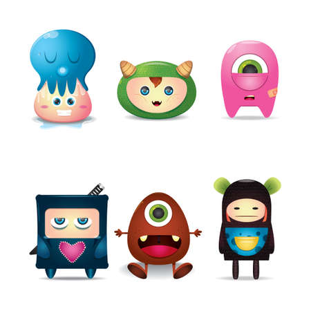 one eyed: Set of cute monsters