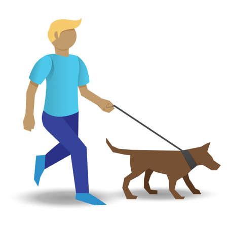 stroll: Boy taking dog for walk