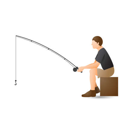 man side view: Man with fishing rod