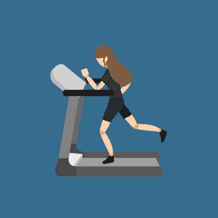donna che corre: Donna in esecuzione sul tapis roulant