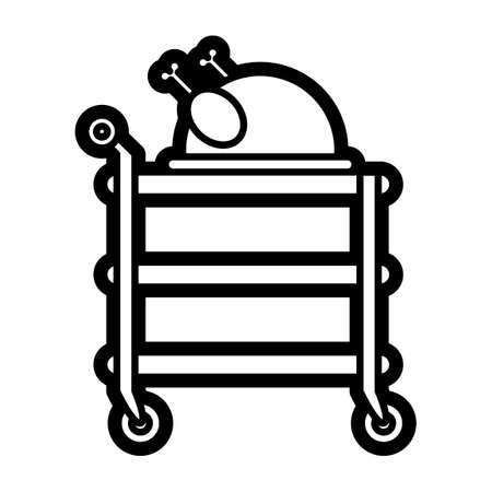 basic food: Service cart with roasted chicken Illustration