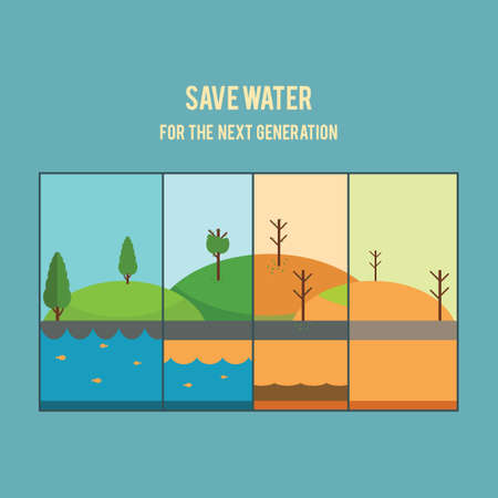 littering: Save water concept Illustration