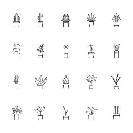 bamboo snake: Collection of potted plants Illustration