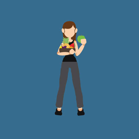 watermelon woman: Woman holding a bowl of fruits Illustration