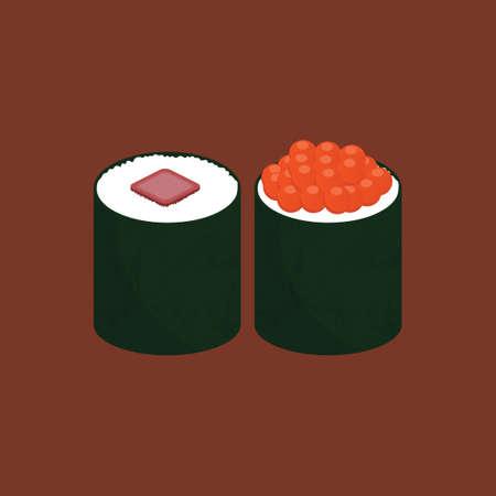 sushi roll: Salmon roe sushi and sushi roll Illustration