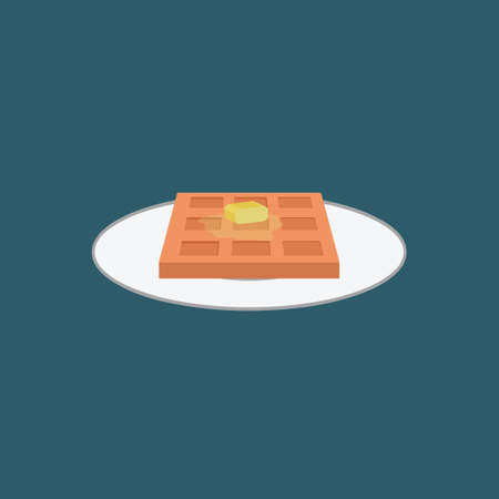 hot plate: Hot waffle with butter on a plate