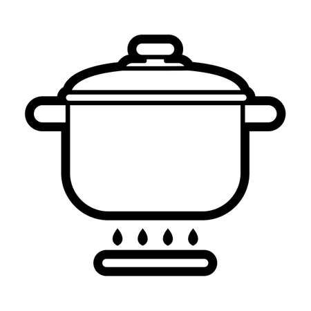 cooking pot: Cooking pot on stove Illustration
