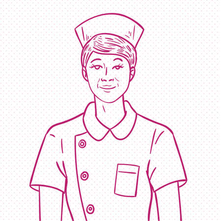 nursing uniforms: Hand drawn nurse