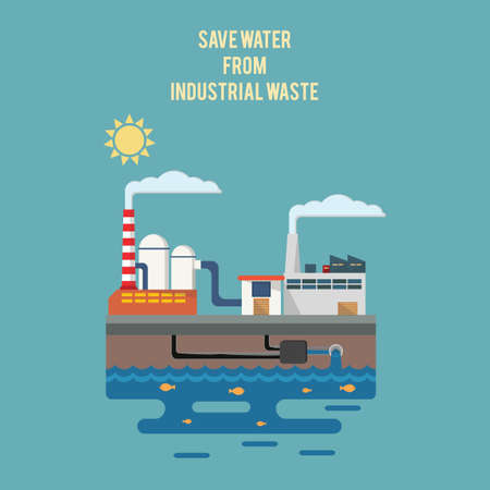 wastage: Save water from industrial waste Illustration