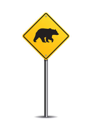 slow lane: Bear crossing sign
