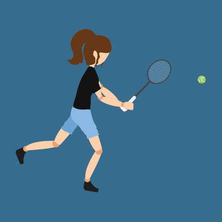 jugando tenis: Mujer jugando al tenis