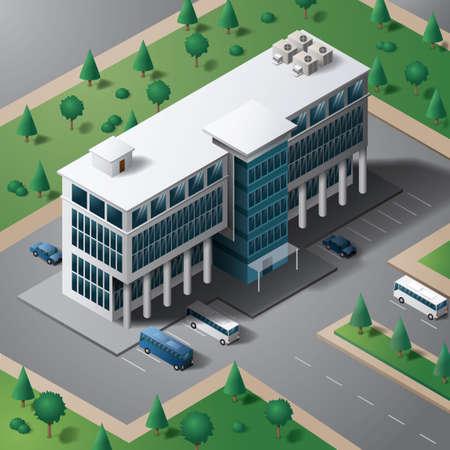 busses: Isometric building Illustration