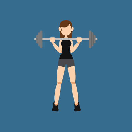 woman exercising: Woman exercising with barbell