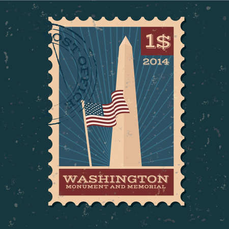 washington monument: Washington monument and memorial postal stamp
