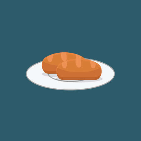 bread roll: Baguette on a plate Illustration