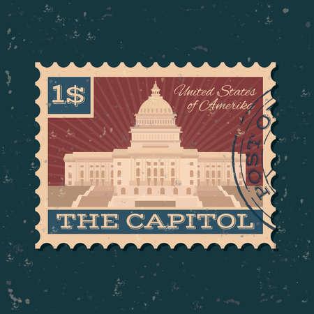 postal stamp: The us capitol building postal stamp
