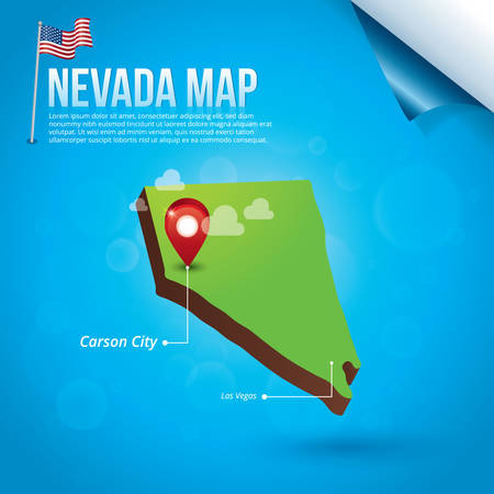 carson city: Map of nevada state