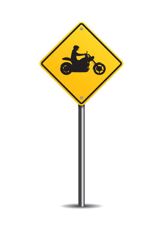 slow down: Motorcycle crossing sign Illustration