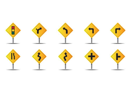 perpendicular: Set of road sign icons Illustration