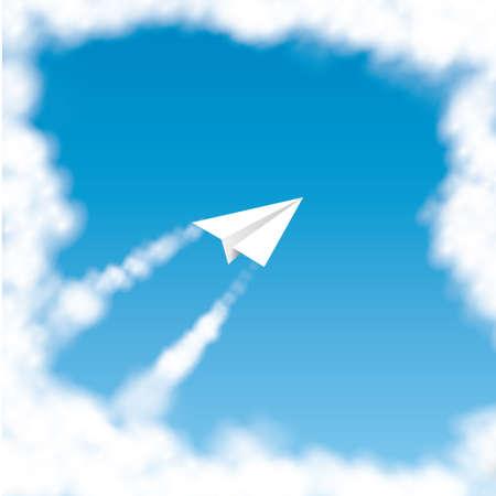 paper flying: Paper plane flying in the sky Illustration