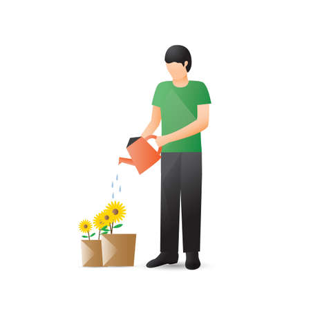 watering plants: Man watering plants