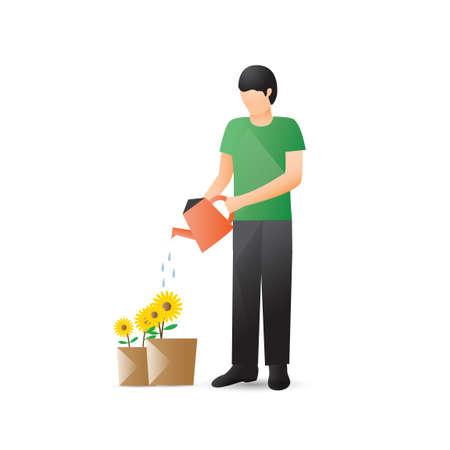 regando plantas: Plantas de riego del hombre