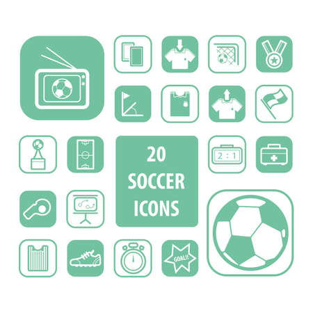shoe box: Set of soccer icons Illustration