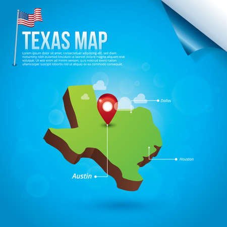 texas state: Map of texas state Illustration