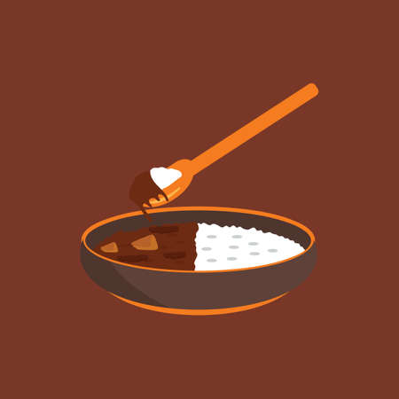 curry rice: Japanese curry with rice Illustration