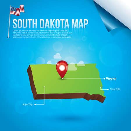 south dakota: Map of south dakota state