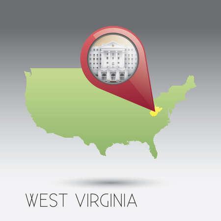 virginia: USA map with west virginia