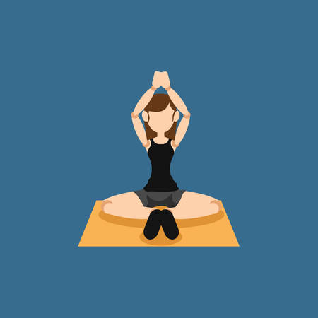 practicing: Woman practicing yoga Illustration