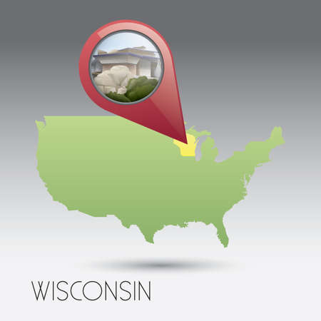 wisconsin state: USA map with wisconsin state