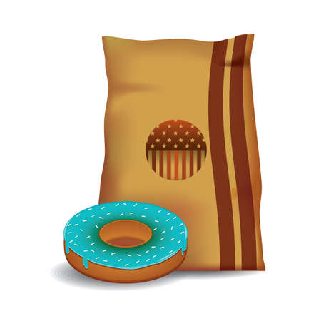toppings: Donut with paper bag Illustration