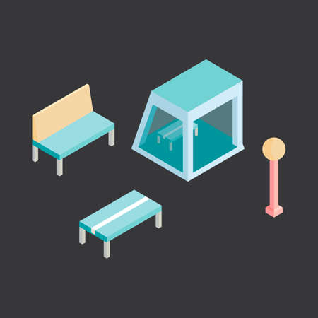 lamppost: Isometric benches cover bench and lamppost
